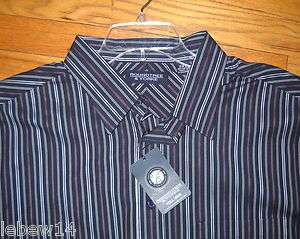 Roundtree Mens LS Navy Purple Thin Striped Shirt XLT, 2X, 2XLT, 3X