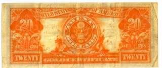 SERIES 1922 $20 GOLD CERTIFICATE GEORGE WASHINGTON XF