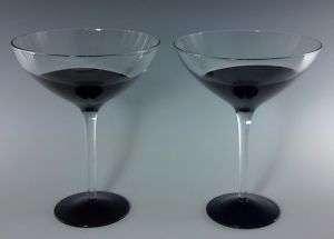 Assymetric Art Black Clear Martini Margarita Glasses