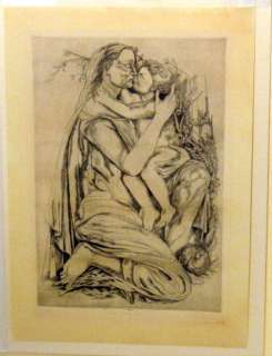 Federico Cantu Mother Child Mexico CA Print Etching