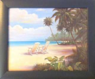 Framed Tropical Beach Home Palm Trees Sailboat Prints