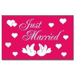 Just Married Hochzeit pink Fahne Flagge Grösse 1,50x0,90m   FRIP