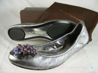 Womens Lucy Metallic Leather Ballet Flat Shoes Dark Silver 8