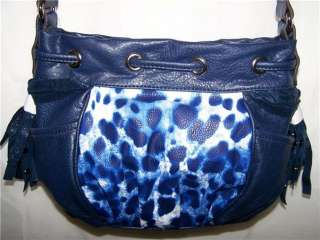 NEW KATHY VAN ZEELAND Navy LEOPARD Animal Print SHOW STOPPER Crossbody