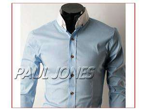 Mens Fashion Casual FIT Buttons Down Dress Shirts ,Blue SIZE S