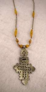Coptic Cross Pendant With Natural Stone Bead work Chain