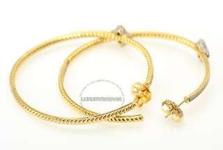 David Yurman 18K Yellow Gold & Diamonds Quatrefoil Large Hoop Earrings
