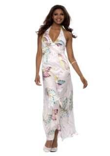 Astrapahl, langes Luxus Seidenkleid im Butterfly Design, Farbe weiß