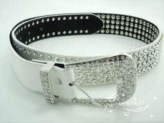 Bling Rhinestone Crystal Leather Women Waist Belt #116 white