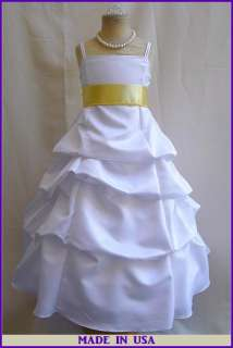 NEW WHITE CANARY/LIGHT YELLOW FLOWER GIRL PAGEANT DRESS