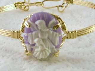 R361 Angel Girl Cameo Bangle Bracelet 14k Gold gf