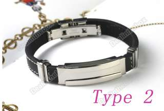 1pcs Fashion Mens Silver Stainless Steel Rubber Bracelet Wristband
