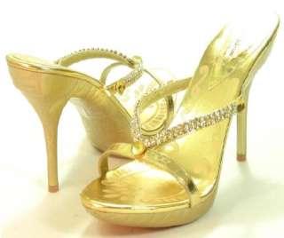 GOLD Slip on Sandals Shoe Heel Bootie w/Rhinestones NEW