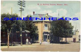1911 W.O. RAILROAD STATION MINSTER OHIO POSTCARD