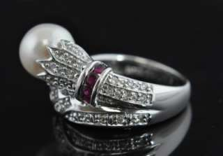 Samuel B 14K White Gold Akoya Pearl Diamond Pave Ruby Wrap Band Ring 5
