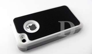 WHITE COMBO HARD CASE COVER SOFT GEL SKIN FOR IPHONE 4 G 4S 4th BLACK