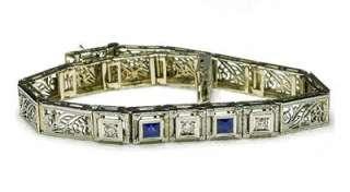 Antique 1930s Deco 14k White Gold Diamond & Sapphire Ladies filigree