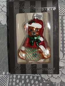 New in Box CHRISTOPHER RADKO TEDDY BEAR Christmas ORNAMENT 25th