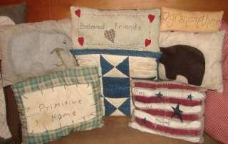 Vintage Lot Of 11 Primitive Pillows Bear Flag Decor