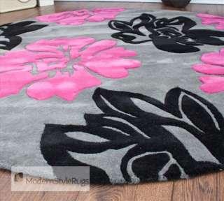 30 round black and pink girls bedroom peace sign rug 100 cotton. Black Bedroom Furniture Sets. Home Design Ideas