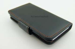 LEATHER WALLET FLIP CASE COVER FOR APPLE IPOD TOUCH 4 G 4TH GEN SCREEN