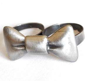 Doppelring Schleife silber gold VINTAGE 2 Finger Ring