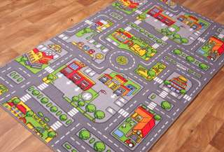 Kids City Play Mat Fun Town Cars Play Village Road Rug