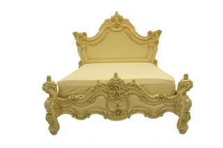 French Style Furniture Ivory cream White Carved Bed King Size Ornate