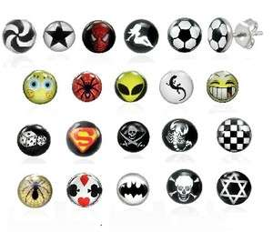 NEW MENS BOYS **SINGLE** STUD LOGO PICTURE CARTOON EARRING STUDS