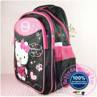 Hello Kitty Backpack Rucksack Schoolbag Sac Bag Black