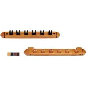 Two Piece 6 Cue Wall Rack with Clips   Chocolate, Honey, Midnight or