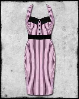 HELL BUNNY PINK BLACK STRIPE MRS JOHNSON 50s ROCKABILLY PINUP PENCIL
