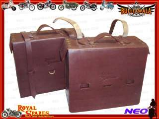 NEW ROYAL ENFIELD PAIR OF BROWN GENUINE LEATHER TRAVELER BAGS