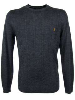 Mens Farah Vintage Merino Wool Kingston Cable Knit Grey
