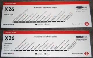 London Transport   Route X26   Bus Route Line Diagram Vinyl Stickers