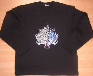 SWEAT SHIRT noir H/F DRAGON ET TIGRE BIKER TRIBAL NEUF