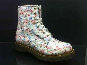 DR MARTEN 1460 8 EYELET LITTLE FLOWERS WHITE BOOT 3   8