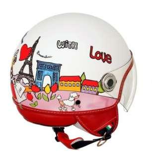 Echi di amore e moda per il casco LOVE PARIS, fondo bianco e profili