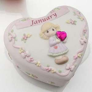 Precious Moments Birthday Heart Box W/Birthstone   January