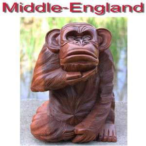 MONKEY FIGURE SUAR WOOD HAND CARVED ANIMAL STATUE SCULPTURE H30CM NEW