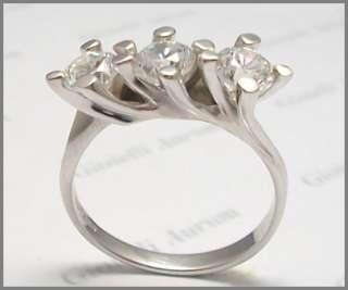 Anello trilogy oro bianco 18 kt.diamanti VS1 0,45 ct.