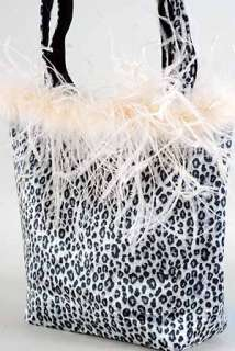 Velvet Animal Print Ostrich Feather Handbag Purse Bag!