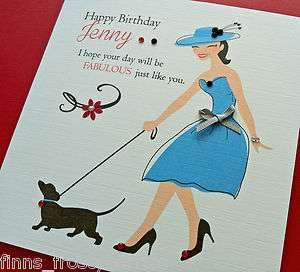 TRÈS CHIC Oh La La La  Personalised Birthday Card with Dachshund