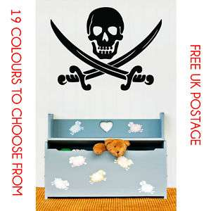 Pirates Scull Crossed Swords Wall Sticker Decal   Large