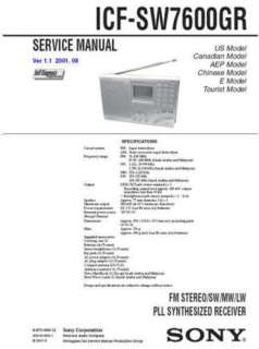 SONY ICF SW7600GR COMPLETE SERVICE MANUAL SUPPLY ON CD