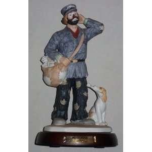 Emmett Kelly Mailman Large Clown Figurine Mint with Cherry Wood Stand