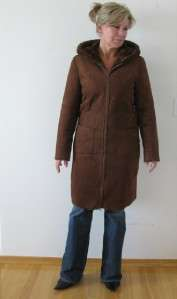 CHESTNUT BROWN FAUX SHEEPSKIN SHEARLING FUR LINED LADIES HOODED COAT