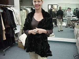 Black FRENCH LACE MINK Shawl Wrap Stole COUTURE Neiman