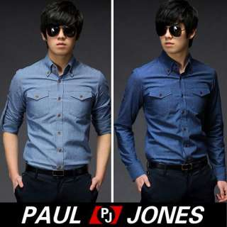 PAUL JONES Mens Fashion Casual FIT Buttons Down Dress Shirts ,Blue