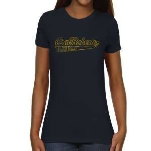 Oral Roberts Golden Eagles Ladies Swept Away Slim Fit T Shirt   Navy